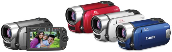 Canon VIXIA FS31 and VIXIA FS300 (available in red, silver and blue)
