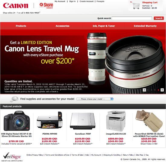 Canon Of Canada Giving Away Lens Travel Mug With Estore