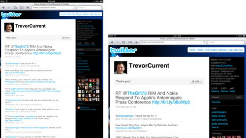 Twitter Page Viewed on an iPad