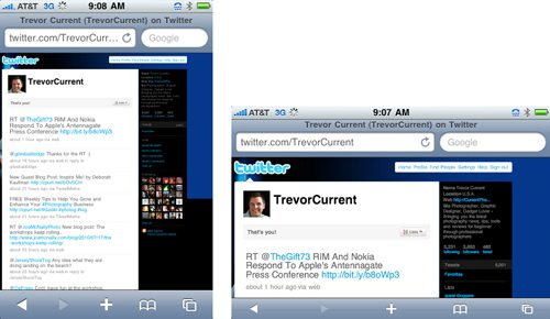 Twitter Page Viewed on an iPhone