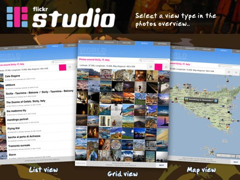 FlickrStudio iPad App Screen